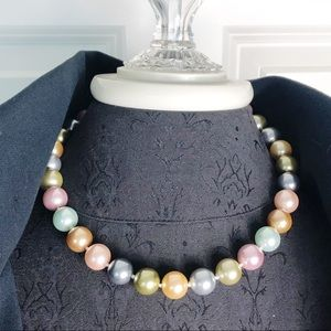 "KJL Pastel Pearl Inaugural 18"" Necklace Signed"